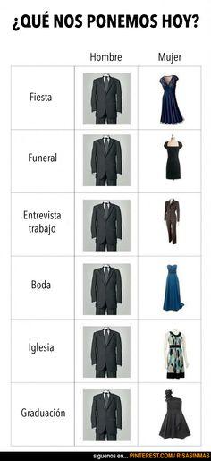 Indumentaria para la ocasión según hombres y mujeres. Spanish 1 7b32ec4c16c