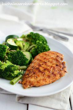 Kuchnia szeroko otwarta: Obiad w 20 minut: Grillowana pierś z kurczaka z warzywami z parowaru Broccoli, Grilling, Meat, Chicken, Vegetables, Fitness, Food, Crickets, Essen
