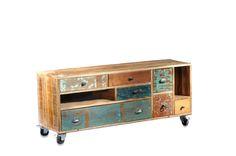 Sideboard aus Massivholz im Shabby Chic Look - versandkostenfrei bestellen auf: http://moebeldeal.com/industrial-und-shabby/kommoden/5476/lowboard-indisch-shabby-chic-mit-bunten-schubladen