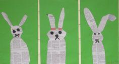 Jänis sanomalehdestä leikaten Craft Ideas, Places, Kids, Crafts, Animals, Young Children, Boys, Manualidades, Animales