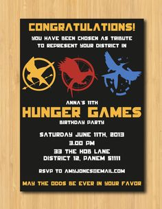 Host your very own Hunger Games! This printable invitation is personalised with your party details. ► Coordinating party package: