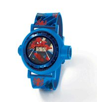 Spider-Man™ Projection Watch. The perfect watch for any Spider-Man fan! Watch strap and face are blue. Strap also has red and black spider prints. • Projects 10 images with the touch of a button. • Digital face with adjustable strap www.youravon.com/katcox