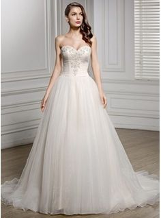 Wedding Dresses - $224.99 - A-Line/Princess Sweetheart Chapel Train Tulle Wedding Dress With Ruffle Beading Appliques Lace Sequins  http://www.dressfirst.com/A-Line-Princess-Sweetheart-Chapel-Train-Tulle-Wedding-Dress-With-Ruffle-Beading-Appliques-Lace-Sequins-002056614-g56614