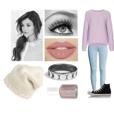 loose wavy side ponytail, cream knit beanie, bold lashes, eyeliner, pink lip, tan nails, black converse, light blue skinny jeans, lavender sweater, girl, cute, pretty, basics, simple