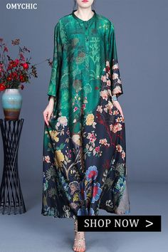 Casual Summer Dresses, Summer Dresses For Women, Casual Outfits, Mother Of Groom Outfits, Green Print, Day Dresses, Loose Fit, Printed Silk, Caftans