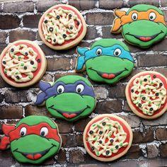 Turtle power! #buttercupcookies #turtles #tmnt #pizza #mutants #michalengelo #raphael #leonardo #donatello Tmnt, Ninja Turtle Party, Decorated Cookies, Cookie Decorating, Pizza, Cake, Boys, Instagram Posts, Desserts