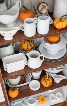 Fall Decorating in My Dining Room #fall #decor #decorating #diningroom #styling Autumn Decorating, Decorating Ideas, Decor Ideas, Pitchers Of Flowers, Black Bowl, Vintage Sideboard, Fall Candles, Vintage Chairs, Wood Cabinets