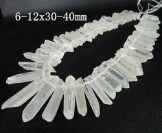 $14 Approx 52pcs/strand of Raw Crystal Quartz Top Drilled Pendants ,AA-Grade Quality Rock Quartz Crystal  Graduated Beads 6-12x30-40mm