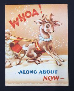 Vintage Christmas Card Reindeer Sleigh Cartoon Face  | eBay