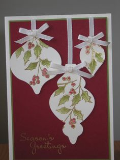 Watercolour Winter Ornament Keepsakes - looks simple Christmas Cards 2017, Stamped Christmas Cards, Xmas Cards, Handmade Christmas, Holiday Cards, Christmas Tag, Christmas Crafts, Holiday Ornaments, Winter Cards