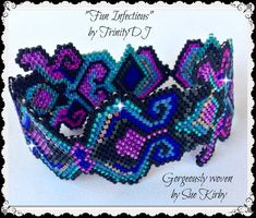 - Fun Infectious - Peyote Stitch Beadwork Pattern, seed bead jewelry,beadweaving tutorial,beaded from TrinityDJ on Etsy. Seed Bead Bracelets Tutorials, Beaded Bracelets Tutorial, Beaded Bracelet Patterns, Beading Patterns, Beading Ideas, Peyote Bracelet, Peyote Beading, Beadwork, Peyote Stitch Patterns