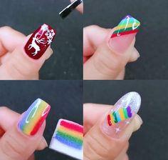 Nail Art Hacks, Nail Art Diy, Easy Nail Art, Cool Nail Art, Diy Nails, Nail Art Designs Videos, Nail Art Videos, Best Nail Art Designs, Pretty Nail Art