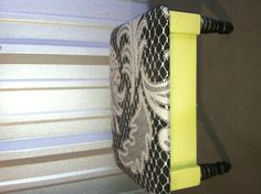 Great stool upcycled and made into vanity/jewelry box.  Lift seat, has chain, With mirror inside with compartments for make-up or jewelry.  Colors are Avocado and black damask.  $35.00