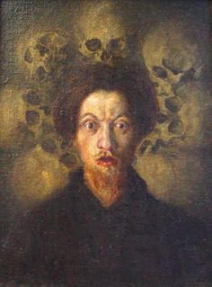 """Luigi Russolo. Self-Portrait with Skulls, 1909-10. Oil on canvas, 67 x 50 cm.    Luigi Russolo (1883 – 1947) was an Italian Futurist painter and composer, and the author of the manifesto 'The Art of Noises' (1913). He is often regarded as one of the first noise music experimental composers with his performances of """"noise concerts"""" in 1913-14 and then again after World War I, notably in Paris in 1921. He is also one of the first theorists of electronic music."""
