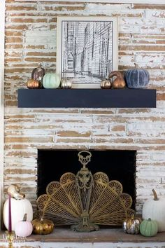 Create gorgeous heirloom pumpkins with this easy DIY.  Repurpose old pumpkins or use dollar store faux ones.  Find out how at uptodateinteriors.com | pumpkins decorating | heirloom pumpkins decor | heirloom pumpkins diy
