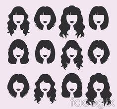 Women's hair design vector