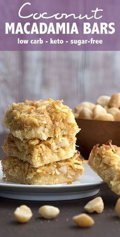 Keto Coconut Macadamia Bars - a delicious almond flour shortbread crust with a rich butter sugar-free topping