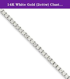 """14K White Gold (2cttw) Cluster Setting Diamond Bracelet -7"""" (7in x 4mm). 14K White Gold (2cttw) Cluster Setting Diamond Bracelet -7"""" (7in x 4mm) Product Type: Jewelry Jewelry Type: Bracelets Bracelet Type: Diamonds Material: Primary: Gold Material: Primary - Color: White Material: Primary - Purity: 14K Length of Item: 7 in Finish: Polished Plating: Rhodium Chain Length: 7 in Chain Width: 4 mm Clasp /Connector: Box Catch Stone Type_1: Diamond Stone Creation Method_1: Natural Stone..."""