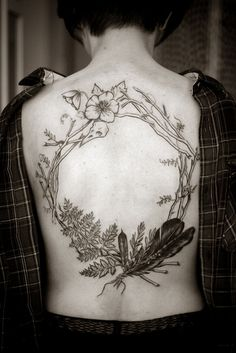 back tattoo, ink, wreath, nature, feathers, flowers, illustration, drawing, black and white