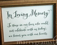 In Loving Memory Sign Table Card Wedding Reception by marrygrams