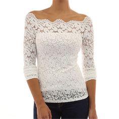 Wish | Women Shirts Fashion Long Sleeve White Lace Blouse Off Shoulder