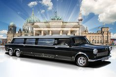 """Trabi / Trabant Stretchlimousine, Stretchtrabi, Limousine - custom build and stretched """"east german"""" (IFA) car, available for awesome sightseeing rides (kind of Trabi Safaris) or stunning airport shuttles in Berlin. Makes really lots of fun. :-)"""