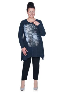 Ciemnogranatowa tunika wzór kwiaty - Modne Duże Rozmiary