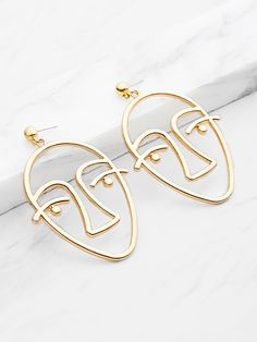 Shop Metal Face Shaped Drop Earrings online. SheIn offers Metal Face Shaped Drop Earrings & more to fit your fashionable needs.
