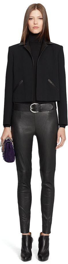 Chic Outerwear and Jackets from Ralph Lauren Black Label / BLACK LABEL LAMBSKIN-TRIM LEIGHTON JACKET