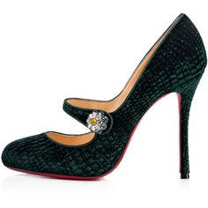 Booton MJ 100 Verde Velvet - Women Shoes - Christian Louboutin (5,780 GTQ) ❤ liked on Polyvore featuring shoes, high heel shoes, mary-jane shoes, christian louboutin mary jane, velvet mary janes and velvet mary jane shoes