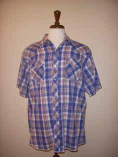 WRANGLER Western Plaid Short Sleeve SHIRT Men's XL #Wrangler #Western