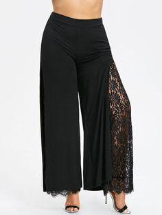 4bd41031467c Women's Plus Size High Slit Lace Palazzo Pants Trousers XL -5XL Wide Leg  Pants