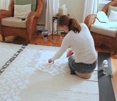 Shine Your Light: Stenciled Drop Cloth Curtain Tutorial