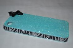 Glitter & Bow with Zebra Glitter iPhone 4/4S by SassyCoutureCo, $15.00