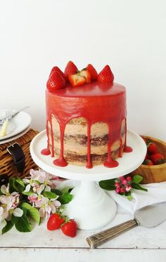 Strawberry, elderflower & almond layer cake with roasted strawberry swiss meringue buttercream & strawberry white chocolate elderflower ganache - recipe