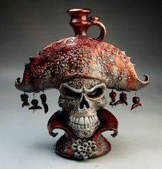Phantom of the Opera Red Death Mask custom order face jug by Mitchell Grafton. via Grafton Pottery FB