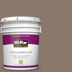 BEHR Premium Plus 5 gal. #N210-5 Caffeine Zero VOC Eggshell Enamel Interior Paint