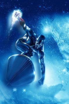 Silver Surfer charging in to action. Marvel Comics Art, Marvel Comic Books, Comic Book Characters, Comic Book Heroes, Marvel Heroes, Marvel Characters, Captain Marvel, Marvel Universe, Silver Surfer Comic