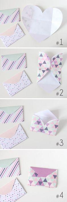 Fun envelope shape. Great for last-minute party invites- gift cards! //Jean brazenfaithllc.com #brazenfaithllc Origami Paper, Diy Paper, Paper Crafting, Oragami, Heart Envelope, Diy Envelope, Envelope Tutorial, Origami Envelope, Heart Origami