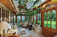 Bella veranda chiusa. Winnetka, Illinois, USA.