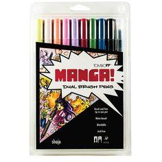 Tombow 56173 Dual Brush Pen Art Markers, Manga Shojo, Blendable, Brush and Fine Tip Markers Tombow Markers, Brush Markers, Marker Pen, Brush Pen Art, Tombow Dual Brush Pen, Blender Pen, Fine Pens, Pen Sets, Brush Lettering