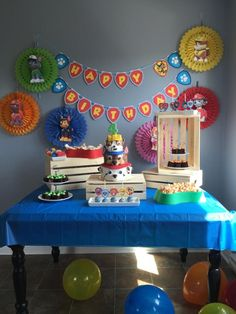 Paw Patrol Party - cake by Happy Belly Cakery # paw patrol cake Paw Patrol Party Bolo Do Paw Patrol, Paw Patrol Cake, 4th Birthday Parties, Boy Birthday, Paw Patrol Party Decorations, Paw Patrol Theme Party, Teepee Party, Party Cakes, Popcorn Cake