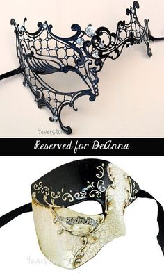 New! His & Hers Luxury Phantom Masquerade Masks [Black Themed] - Bestselling Black Half Mask and Laser Cut Masquerade Mask with Diamonds