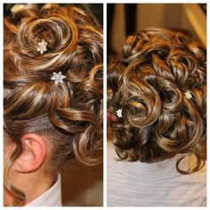 Wedding updo with star hair accessories
