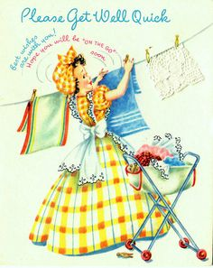Gingham Girls vintage card