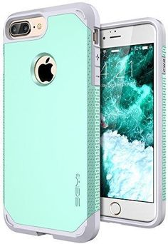 iPhone 7 Plus Case SGM Premium Hybrid [Dual Layer] Armor Case Cover For Apple iPhone 7 Plus [Anti-Slip Design] [Shock Proof] (Mint  Gray)