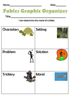 This is a fables graphic organizer for helping students determine all the parts of a fable.  We start this as a whole class together.  After doing 3-4 as a whole class they can begin to fill it out independently.  This helps meet CCSS RL 2.2 where students have to determine the moral or central message of a fable.