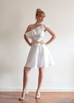 One Shoulder Ruffle White Linen Dress  Perfect Fit by LanaStepul, $239.00