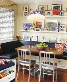corner banquette with photo display - love