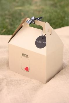I found some great shots on a blog which show off how you can use gable boxes at your wedding. I used them as welcome bags for guest at my own wedding. When the guest checked in they found these boxes filled with food, drinks, information about the area along with other goodies. It seems like the possibilities are endless with these boxes. Find the boxes here. Here are a few pictures from my wedding. You can see we attached a vintage postcard with a welcome note to our guest and we also…